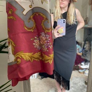 Vtg John Roberts black flapper fringe midi dress